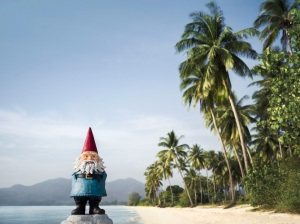 Roaming Gnome on a beach