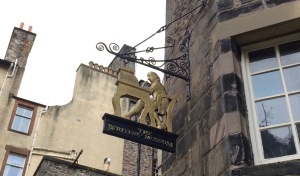 The Writers' Museum sign in Edinburgh