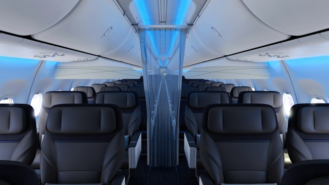 Alaska Airlines' blue mood lighting