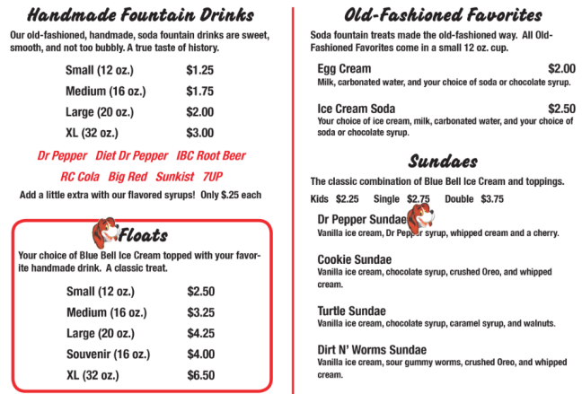 Frosty's Soda Shop menu