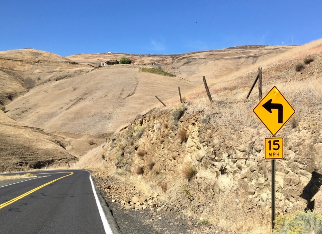 Road sign on Lewiston Hill, Idaho