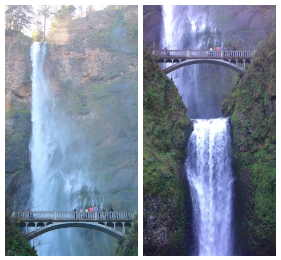 Multnomah Falls' upper and lower tiers