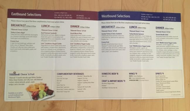 Delta main cabin complimentary menu