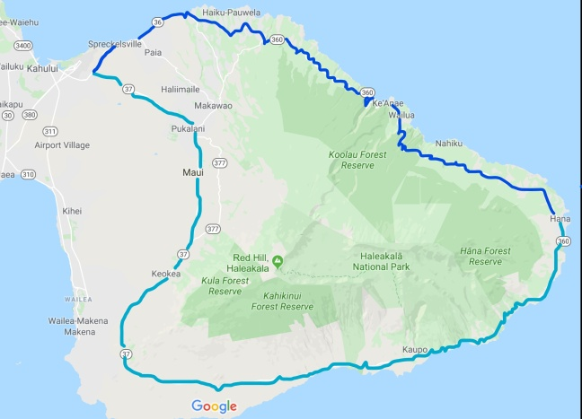 Map of Road to Hana